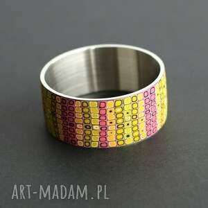 różowe bransoletki bransoleta z polymer clay i stali