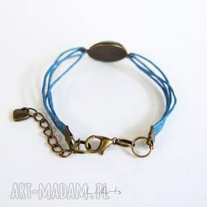 hand made bransoletka - biały lis - niebieska