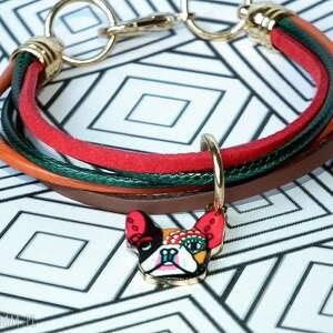 ręcznie zrobione bransoletki rzemyki bransoletka buldog francuski ::