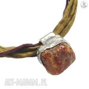 fioletowe bransoletki jedwab bransoletka bursztyn na jedwabiu