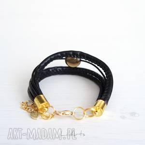 bransoletka - czarna - złota