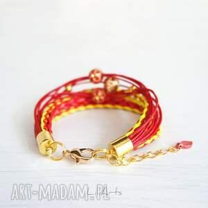 hand made bransoletka - czerwona, żółta