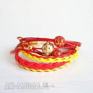 czerwone koraliki bransoletka - czerwona, żółta