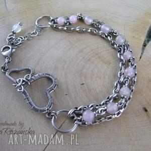 bransoletki wire-wrapping bransoletka jadeit blady róż, wire