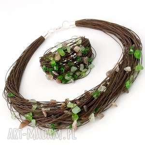 zielone bransoletki lniana bransoletka agabe / stal