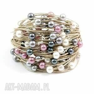 białe perły bransoletka lniana - tali