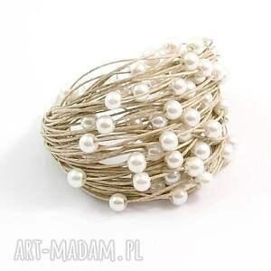 Bransoletka lniana - Tak - perły