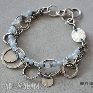 unikatowe bransoletki srebro bransoletka mieszana jasnoniebieska