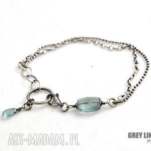 Grey Line project Bransoletka mini z pastylką akwamarynu
