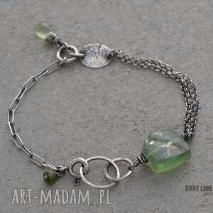 zielone bransoletki srebro bransoletka mini ze szkłem
