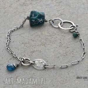 niebieskie bransoletki srebro bransoletka mini ze szkłem