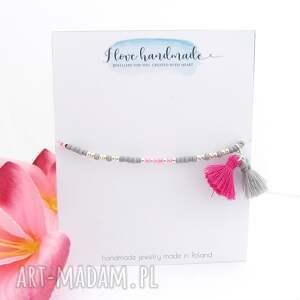 różowe bransoletki letnia bransoletka na kostkę - powder pink