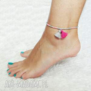 bransoletki bransoletka na kostkę - powder pink