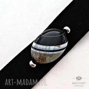 czarne alcantara bransoletka na zatrzask z agatem