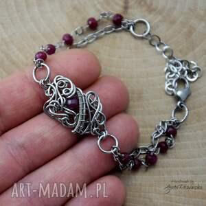 Agata Rozanska Bransoletka naturalny rubin, wire wrapping, stal chirurgiczna