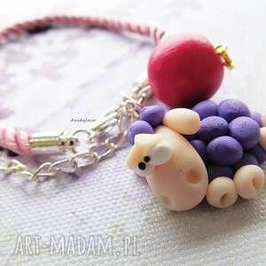 różowe bransoletki modelina bransoletka owca