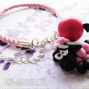 czarne bransoletki modelina bransoletka - różowa owca