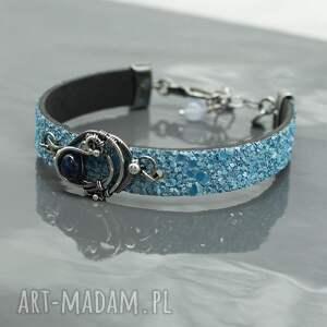 niebieskie rzemień bransoletka - z kyanitem