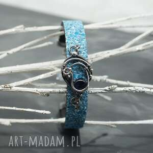 wire bransoletka - rzemień z kyanitem