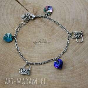bransoletka niebieskie serca swarovski, wire