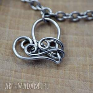 fioletowe wire wrapping bransoletka serca swarovski