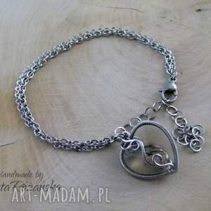 ręczne wykonanie bransoletki serce bransoletka swarovski, wire