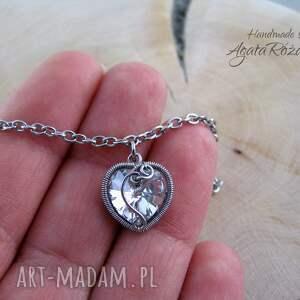 białe bransoletki bransoletka serce swarovski, wire