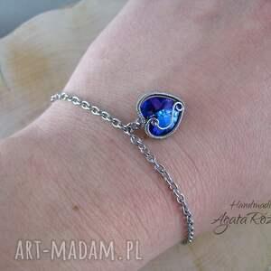 niebieskie bransoletki bransoletka serce swarovski