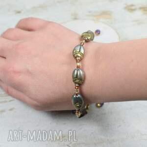 złote biżuteria na prezent bransoletka skarabeusze