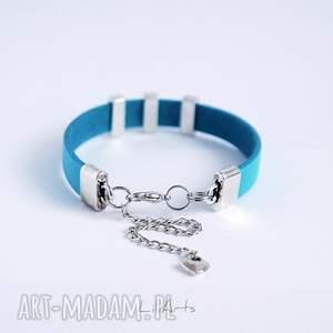 ręcznie zrobione bransoletki bransoletka skórzana - niebieska