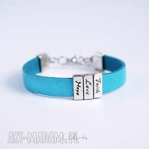 niebieskie bransoletki skórzana bransoletka - niebieska