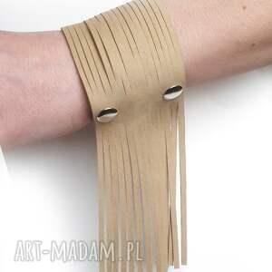 bransoletki frędzle bransoletka skórzana piaskowy beż