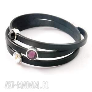 fioletowe kruształki swarovskiego bransoletka skórzana z kryształkami
