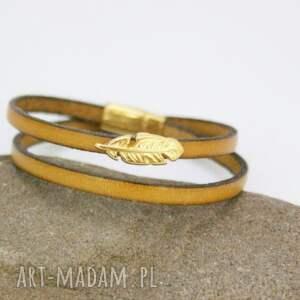 żółte bransoletki bransoletka skórzana musztardowa