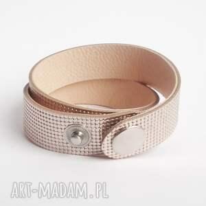 hand made bransoletki owijana bransoletka skórzana różowe