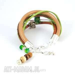 ręcznie wykonane bransoletka - ślimak, wiosenna łąka