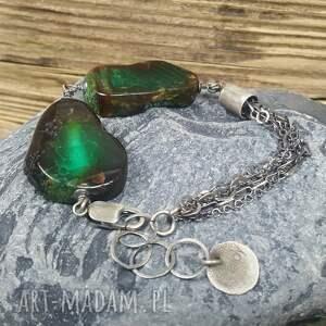 srebro zielone bransoletka srebrna z przepięknymi