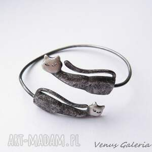 handmade bransoletki biżuteria bransoletka srebrna - koty dwa