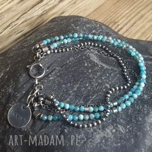 biżuteria na prezent bransoletka srebrna z apatytem