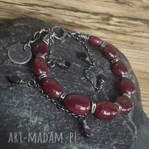 srebro-oksydowane bransoletki bransoletka srebrna z rubinami