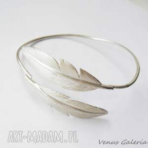 eleganckie bransoletki biżuteria bransoletka srebrna - białe pióra