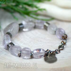 fioletowe bransoletki surowa-bransoletka bransoletka srebrna z bryłek