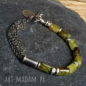 bransoletka srebrna z zielonym