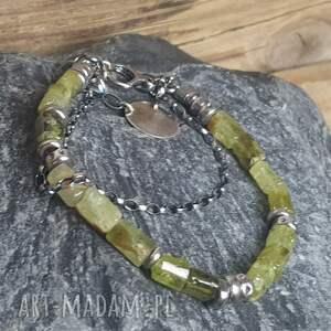 bransoletki granat-zielony bransoletka srebrna z zielonym