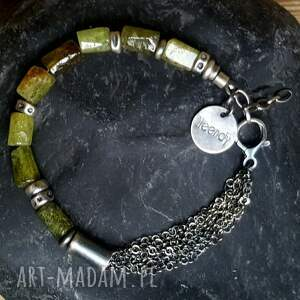 handmade granat zielony bransoletka srebrna z zielonym
