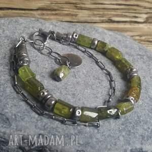 granat-zielony bransoletki bransoletka srebrna z zielonym