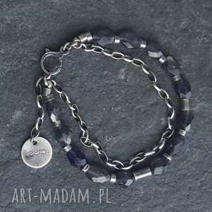 niebieskie bransoletki metaloplastyka bransoletka srebrna z iolitami