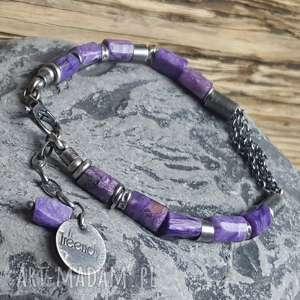 kamienie naturalne bransoletka srebrna z czaroitem