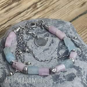 bransoletki akwamaryn bransoletka srebrna z kunzytem