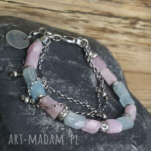 różowe bransoletki metaloplastyka bransoletka srebrna z kunzytem i